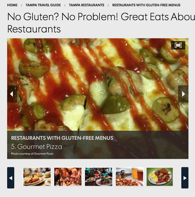 Featured on USA Today's 10 Best - Gluten Free and Vegan Pizza in Tampa